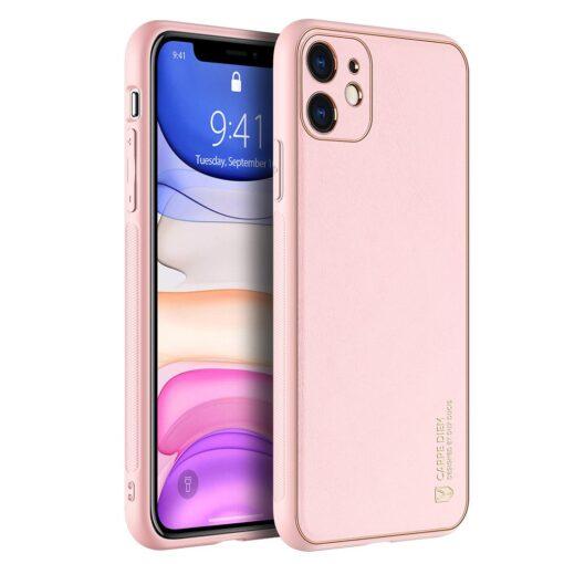 iPhone 11 ümbris YOLO kunstnahast ja silikoonist servadega roosa
