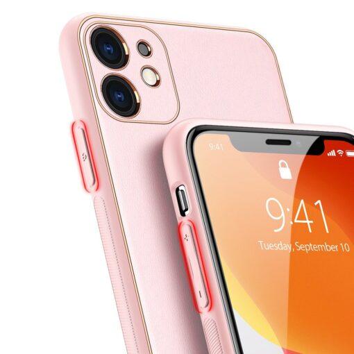 iPhone 11 ümbris YOLO kunstnahast ja silikoonist servadega roosa 7