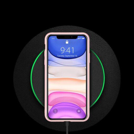 iPhone 11 ümbris YOLO kunstnahast ja silikoonist servadega roosa 8