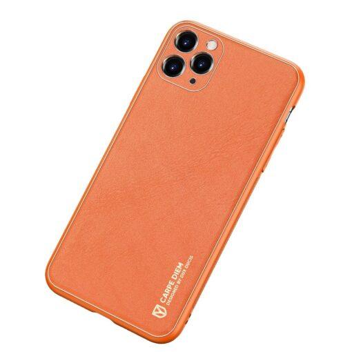 iPhone 11 Pro ümbris YOLO kunstnahast ja silikoonist servadega oranž 1