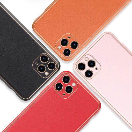 iPhone 11 Pro ümbris YOLO kunstnahast ja silikoonist servadega oranž 11