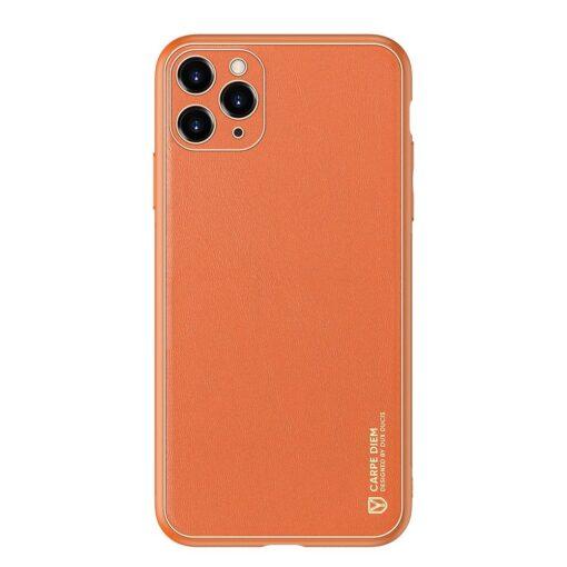 iPhone 11 Pro ümbris YOLO kunstnahast ja silikoonist servadega oranž 12