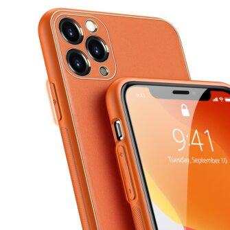 iPhone 11 Pro ümbris YOLO kunstnahast ja silikoonist servadega oranž 3
