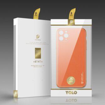 iPhone 11 Pro ümbris YOLO kunstnahast ja silikoonist servadega oranž 4