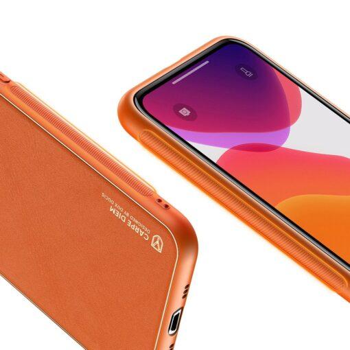 iPhone 11 Pro ümbris YOLO kunstnahast ja silikoonist servadega oranž 5