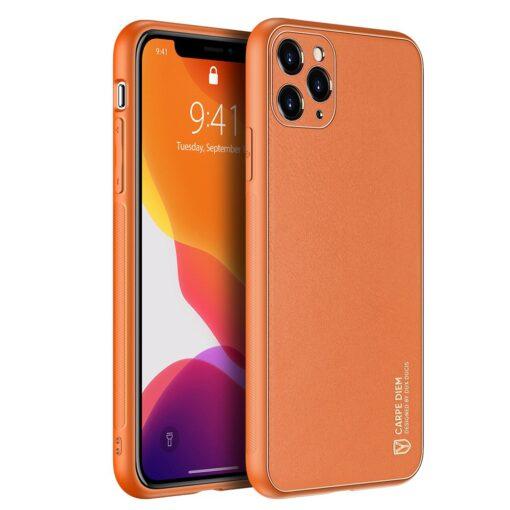 iPhone 11 Pro ümbris YOLO kunstnahast ja silikoonist servadega oranž