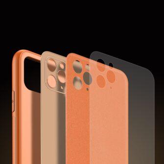 iPhone 11 Pro ümbris YOLO kunstnahast ja silikoonist servadega oranž 7