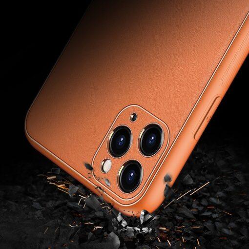 iPhone 11 Pro ümbris YOLO kunstnahast ja silikoonist servadega oranž 8
