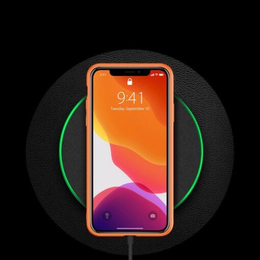 iPhone 11 Pro ümbris YOLO kunstnahast ja silikoonist servadega oranž 9