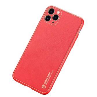 iPhone 11 Pro ümbris YOLO kunstnahast ja silikoonist servadega punane 1
