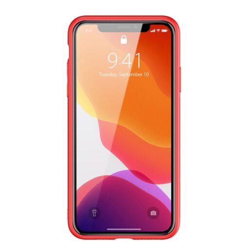 iPhone 11 Pro ümbris YOLO kunstnahast ja silikoonist servadega punane 13