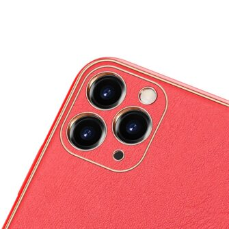iPhone 11 Pro ümbris YOLO kunstnahast ja silikoonist servadega punane 2