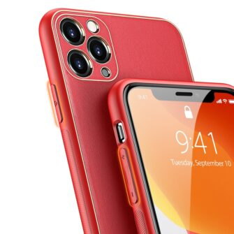 iPhone 11 Pro ümbris YOLO kunstnahast ja silikoonist servadega punane 3