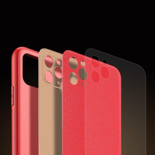 iPhone 11 Pro ümbris YOLO kunstnahast ja silikoonist servadega punane 6