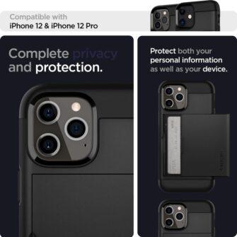 iPhone 12 12 Pro Spigen Slim Armor Cs kaarditaskuga ümbris silikoonist ja plastikust 1