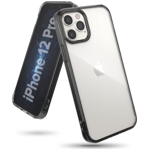 iPhone 12 12 Pro kaaned Ringke Fusion plastikust ja silikoonist raamiga hall 1