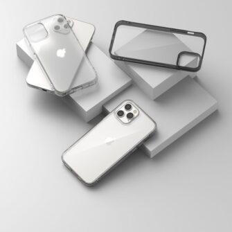 iPhone 12 12 Pro kaaned Ringke Fusion plastikust ja silikoonist raamiga hall 3