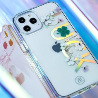 iPhone 12 iPhone 12 Pro ümbris Kingxbar Lucky elastsest plastikust Swarowski kristallikestega Clover 10