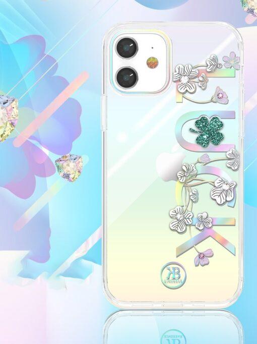iPhone 12 iPhone 12 Pro ümbris Kingxbar Lucky elastsest plastikust Swarowski kristallikestega Clover 2