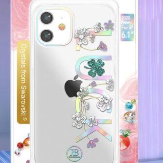 iPhone 12 iPhone 12 Pro ümbris Kingxbar Lucky elastsest plastikust Swarowski kristallikestega Clover 4