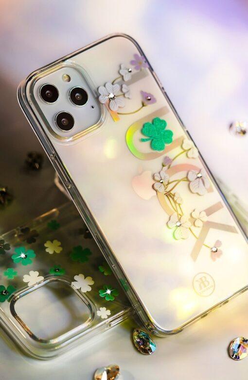 iPhone 12 iPhone 12 Pro ümbris Kingxbar Lucky elastsest plastikust Swarowski kristallikestega Clover 5