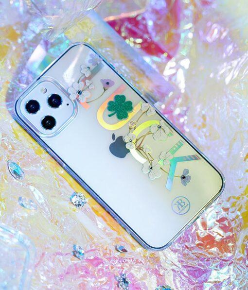 iPhone 12 iPhone 12 Pro ümbris Kingxbar Lucky elastsest plastikust Swarowski kristallikestega Clover 6