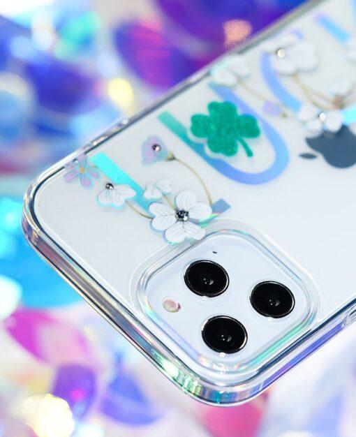 iPhone 12 iPhone 12 Pro ümbris Kingxbar Lucky elastsest plastikust Swarowski kristallikestega Clover 8