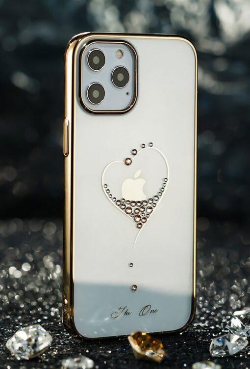 iPhone 12 iPhone 12 Pro ümbris Kingxbar Wish elastsest plastikust Swarowski kristallikestega kuldne 11