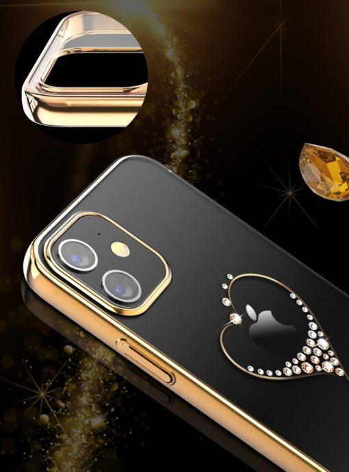 iPhone 12 iPhone 12 Pro ümbris Kingxbar Wish elastsest plastikust Swarowski kristallikestega kuldne 6