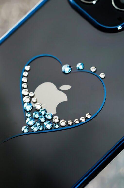 iPhone 12 iPhone 12 Pro ümbris Kingxbar Wish elastsest plastikust Swarowski kristallikestega sinine 9