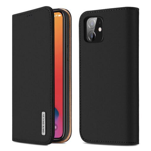 iPhone 12 iPhone 12 Pro kaaned päris nahast kaarditasku rahataskuga DUX DUCIS Wish must