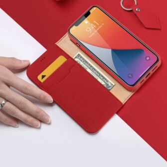 iPhone 12 iPhone 12 Pro kaaned päris nahast kaarditasku rahataskuga DUX DUCIS Wish punane 2