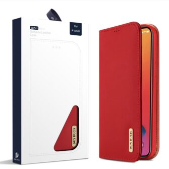 iPhone 12 iPhone 12 Pro kaaned päris nahast kaarditasku rahataskuga DUX DUCIS Wish punane 4