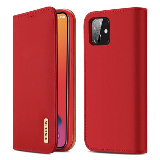 iPhone 12 iPhone 12 Pro kaaned päris nahast kaarditasku rahataskuga DUX DUCIS Wish punane
