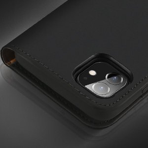 iPhone 12 iPhone 12 Pro kaaned päris nahast kaarditasku rahataskuga DUX DUCIS Wish sinine 11