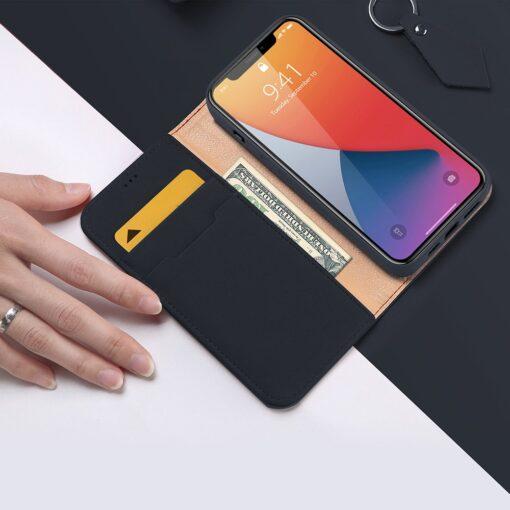 iPhone 12 iPhone 12 Pro kaaned päris nahast kaarditasku rahataskuga DUX DUCIS Wish sinine 2