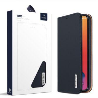 iPhone 12 iPhone 12 Pro kaaned päris nahast kaarditasku rahataskuga DUX DUCIS Wish sinine 4