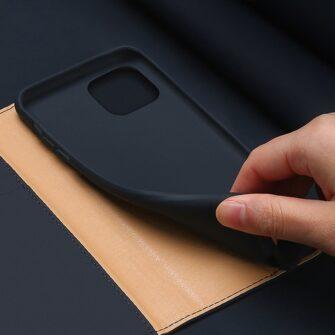 iPhone 12 iPhone 12 Pro kaaned päris nahast kaarditasku rahataskuga DUX DUCIS Wish sinine 5