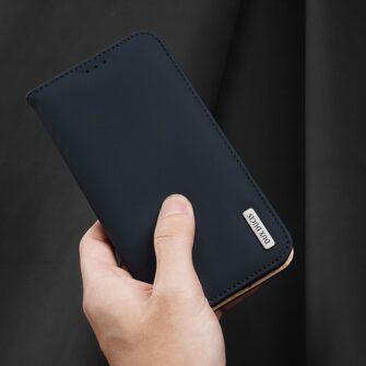 iPhone 12 iPhone 12 Pro kaaned päris nahast kaarditasku rahataskuga DUX DUCIS Wish sinine 7
