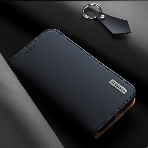 iPhone 12 iPhone 12 Pro kaaned päris nahast kaarditasku rahataskuga DUX DUCIS Wish sinine 8