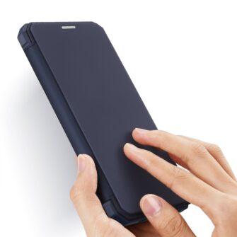 iPhone 12 iPhone 12 Pro kunstnahast kaaned kaarditaskuga DUX DUCIS Skin X sinine 1