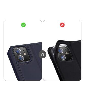 iPhone 12 iPhone 12 Pro kunstnahast kaaned kaarditaskuga DUX DUCIS Skin X sinine 10