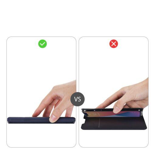 iPhone 12 iPhone 12 Pro kunstnahast kaaned kaarditaskuga DUX DUCIS Skin X sinine 11