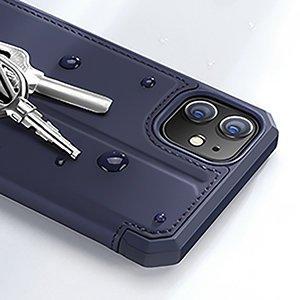 iPhone 12 iPhone 12 Pro kunstnahast kaaned kaarditaskuga DUX DUCIS Skin X sinine 12