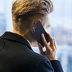 iPhone 12 iPhone 12 Pro kunstnahast kaaned kaarditaskuga DUX DUCIS Skin X sinine 14
