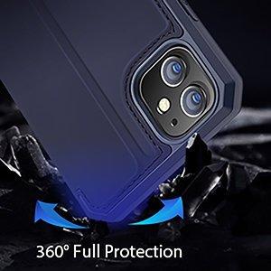 iPhone 12 iPhone 12 Pro kunstnahast kaaned kaarditaskuga DUX DUCIS Skin X sinine 15