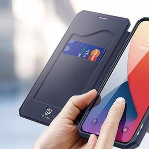 iPhone 12 iPhone 12 Pro kunstnahast kaaned kaarditaskuga DUX DUCIS Skin X sinine 20