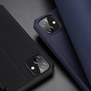 iPhone 12 iPhone 12 Pro kunstnahast kaaned kaarditaskuga DUX DUCIS Skin X sinine 21