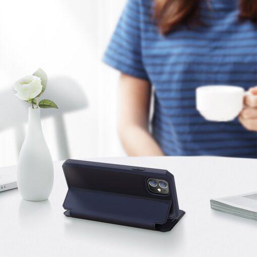 iPhone 12 iPhone 12 Pro kunstnahast kaaned kaarditaskuga DUX DUCIS Skin X sinine 3