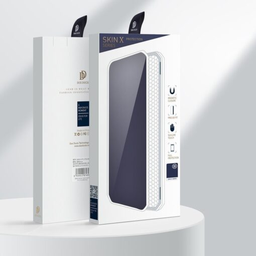 iPhone 12 iPhone 12 Pro kunstnahast kaaned kaarditaskuga DUX DUCIS Skin X sinine 4